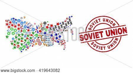 Soviet Union Map Mosaic And Textured Soviet Union Red Circle Stamp Imitation. Soviet Union Stamp Use