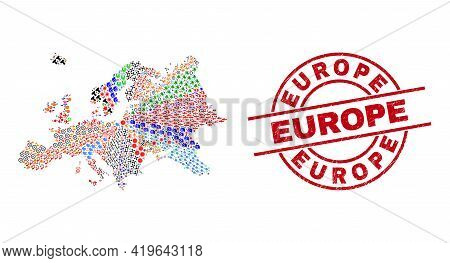 Europe Map Collage And Rubber Europe Red Circle Stamp. Europe Stamp Uses Vector Lines And Arcs. Euro