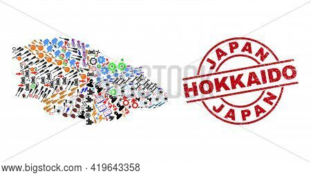 Gozo Island Map Collage And Rubber Japan Hokkaido Red Circle Badge. Japan Hokkaido Stamp Uses Vector