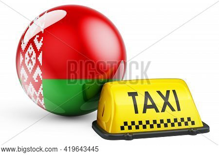 Taxi Service In Belarus Concept. Yellow Taxi Car Signboard With Belarusian Flag, 3d Rendering Isolat