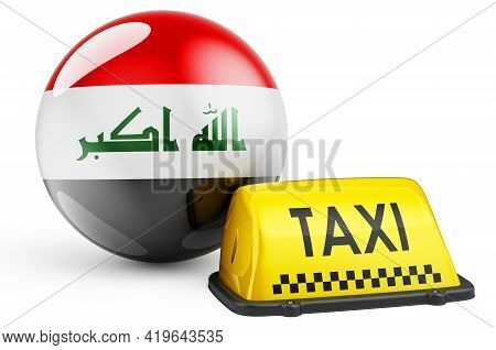 Taxi Service In Iraq Concept. Yellow Taxi Car Signboard With Iraqi Flag, 3d Rendering Isolated On Wh