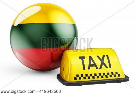 Taxi Service In Lithuania Concept. Yellow Taxi Car Signboard With Lithuanian Flag, 3d Rendering Isol