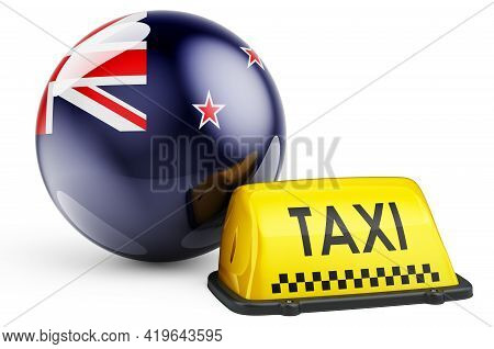 Taxi Service In New Zealand Concept. Yellow Taxi Car Signboard With New Zealand Flag, 3d Rendering I