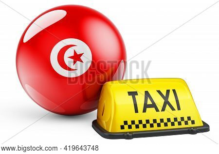 Taxi Service In Tunisia Concept. Yellow Taxi Car Signboard With Tunisian Flag, 3d Rendering Isolated