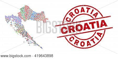 Croatia Map Mosaic And Dirty Croatia Red Round Stamp. Croatia Stamp Uses Vector Lines And Arcs. Croa