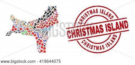 Christmas Island Map Collage And Christmas Island Red Circle Stamp. Christmas Island Seal Uses Vecto