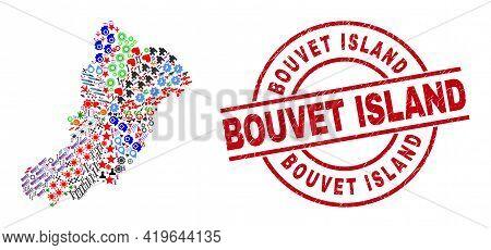 La Graciosa Island Map Mosaic And Rubber Bouvet Island Red Round Stamp Seal. Bouvet Island Stamp Use