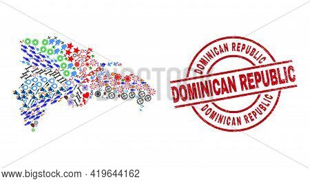 Dominican Republic Map Collage And Textured Dominican Republic Red Circle Stamp. Dominican Republic