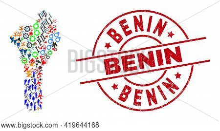 Benin Map Collage And Dirty Benin Red Round Stamp Imitation. Benin Stamp Uses Vector Lines And Arcs.