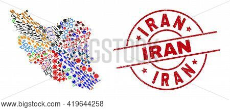 Iran Map Mosaic And Textured Iran Red Round Stamp Seal. Iran Stamp Uses Vector Lines And Arcs. Iran