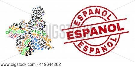 Murcia Province Map Collage And Scratched Espanol Red Circle Seal. Espanol Badge Uses Vector Lines A