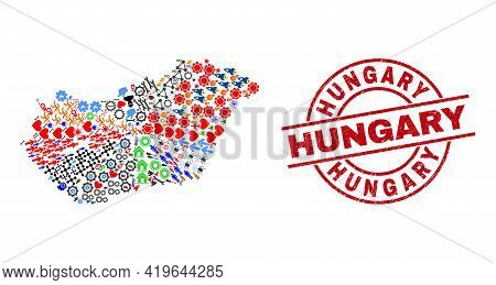 Hungary Map Mosaic And Rubber Hungary Red Round Badge. Hungary Seal Uses Vector Lines And Arcs. Hung