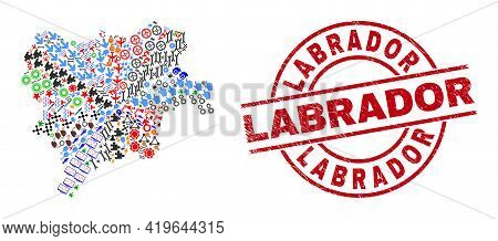 Albacete Province Map Collage And Grunge Labrador Red Round Seal. Labrador Seal Uses Vector Lines An