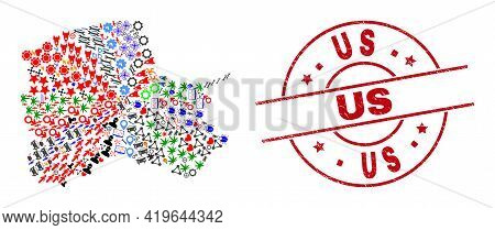 Pomeranian Voivodeship Map Mosaic And Textured Us Red Circle Badge. Us Stamp Uses Vector Lines And A