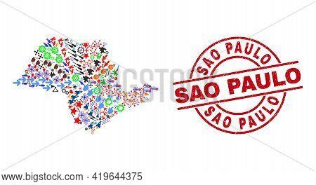 Sao Paulo State Map Mosaic And Grunge Sao Paulo Red Circle Stamp Print. Sao Paulo Stamp Uses Vector