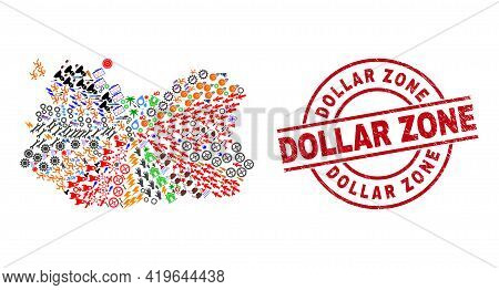 Ciudad Real Province Map Mosaic And Grunge Dollar Zone Red Round Stamp. Dollar Zone Stamp Uses Vecto