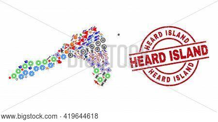 Koh Lipe Map Collage And Dirty Heard Island Red Circle Watermark. Heard Island Seal Uses Vector Line