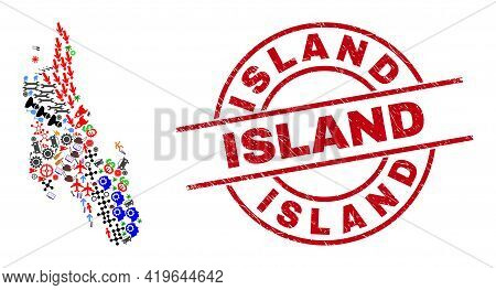 Zanzibar Island Map Collage And Grunge Island Red Round Seal. Island Badge Uses Vector Lines And Arc