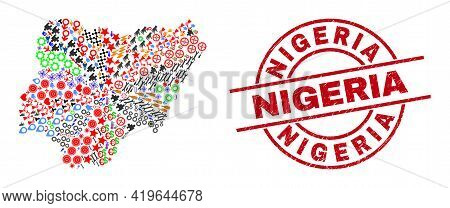 Nigeria Map Mosaic And Rubber Nigeria Red Circle Stamp Print. Nigeria Stamp Uses Vector Lines And Ar