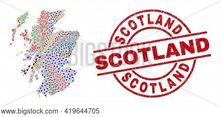 Scotland Map Mosaic And Textured Scotland Red Round Stamp Seal. Scotland Seal Uses Vector Lines And