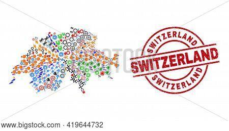 Switzerland Map Mosaic And Scratched Switzerland Red Circle Stamp Imitation. Switzerland Stamp Uses