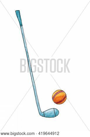 Golf Club And Golf Ball. Golf Tournament Poster Template. Leisure Golf Game. Activity. Sports. Items