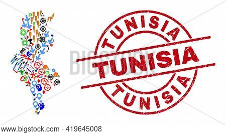 Tunisia Map Collage And Rubber Tunisia Red Round Stamp. Tunisia Stamp Uses Vector Lines And Arcs. Tu