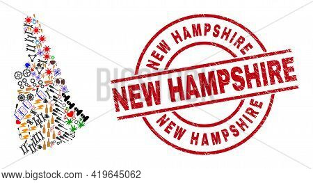 New Hampshire State Map Mosaic And New Hampshire Red Circle Stamp Seal. New Hampshire Stamp Uses Vec