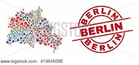 Berlin City Map Collage And Unclean Berlin Red Circle Stamp Print. Berlin Stamp Uses Vector Lines An