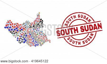 South Sudan Map Collage And South Sudan Red Round Stamp Seal. South Sudan Stamp Uses Vector Lines An