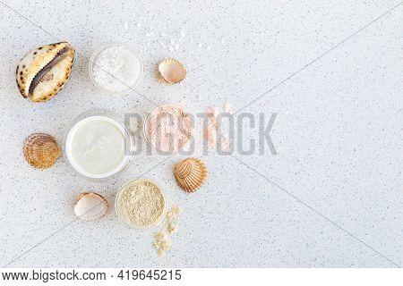 Mineral Moisturizer Cream, Shells, Sea salt In Glass Jar. Moisturizing Skin Care Lotion, Lifting E
