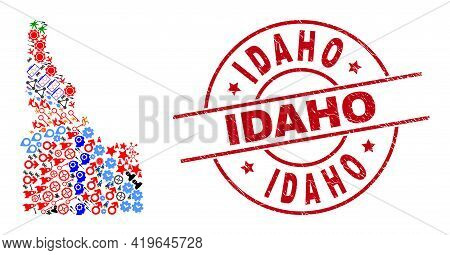 Idaho State Map Collage And Rubber Idaho Red Round Stamp Print. Idaho Stamp Uses Vector Lines And Ar