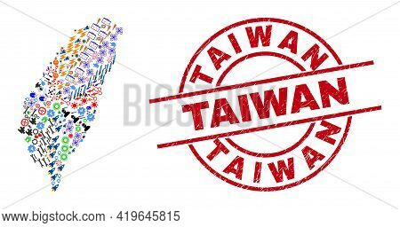 Taiwan Map Collage And Scratched Taiwan Red Circle Badge. Taiwan Badge Uses Vector Lines And Arcs. T