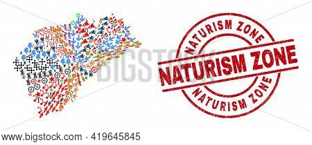 Segovia Province Map Mosaic And Rubber Naturism Zone Red Round Stamp Imitation. Naturism Zone Stamp