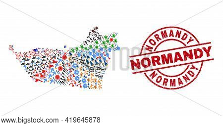 Abu Dhabi Emirate Map Collage And Grunge Normandy Red Round Badge. Normandy Seal Uses Vector Lines A