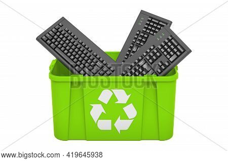Recycling Trashcan With Computer Keyboards. 3d Rendering Isolated On White Background