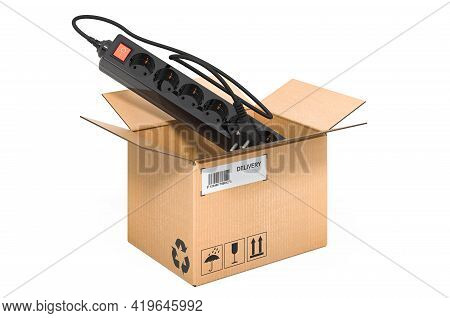 Surge Protector Or Spike Suppressor Inside Cardboard Box, Delivery Concept. 3d Rendering Isolated On
