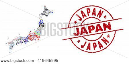 Japan Map Collage And Dirty Japan Red Circle Seal. Japan Badge Uses Vector Lines And Arcs. Japan Map