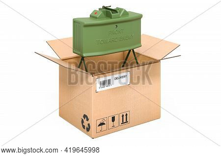 Anti-personnel Mine Inside Cardboard Box, Delivery Concept. 3d Rendering Isolated On White Backgroun