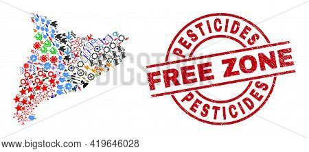 Catalonia Map Mosaic And Textured Pesticides Free Zone Red Circle Stamp Print. Pesticides Free Zone