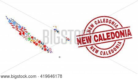 New Caledonia Islands Map Mosaic And Dirty New Caledonia Red Circle Stamp Seal. New Caledonia Stamp