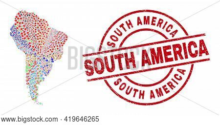 South America Map Collage And South America Red Round Stamp Seal. South America Seal Uses Vector Lin
