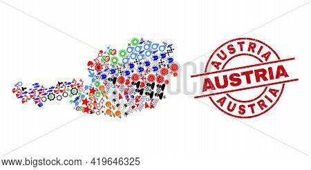 Austria Map Collage And Dirty Austria Red Round Stamp Print. Austria Stamp Uses Vector Lines And Arc