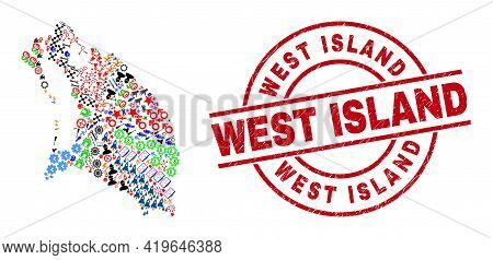 Barbuda Island Map Collage And Unclean West Island Red Circle Seal. West Island Seal Uses Vector Lin