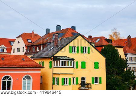Typical Residential District In Bavaria Germany . Residential Houses With Tiled Roofs . Traditional