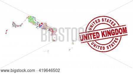 Turks And Caicos Islands Map Mosaic And Distress United States United Kingdom Red Circle Stamp Imita