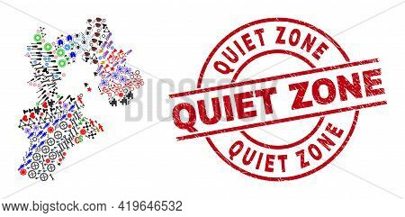 Hebei Province Map Collage And Quiet Zone Red Circle Seal. Quiet Zone Seal Uses Vector Lines And Arc