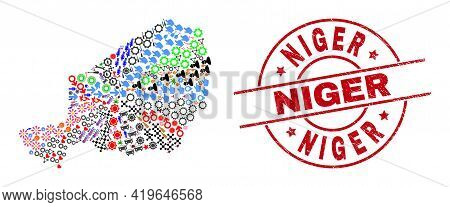 Niger Map Collage And Unclean Niger Red Round Stamp. Niger Stamp Uses Vector Lines And Arcs. Niger M