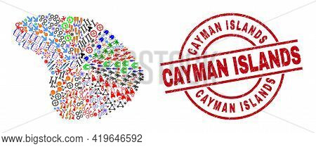 Lanai Island Map Collage And Scratched Cayman Islands Red Circle Seal. Cayman Islands Stamp Uses Vec