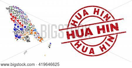 Koh Chang Map Mosaic And Distress Hua Hin Red Circle Badge. Hua Hin Badge Uses Vector Lines And Arcs